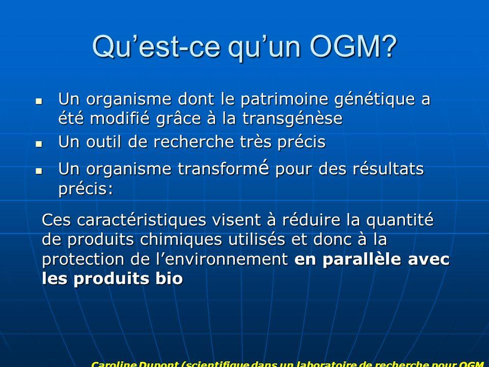 Quest-ce quun OGM? Un organisme dont le patrimoine génétique a été modifié grâce à la transgénèse Un organisme dont le patrimoine génétique a été modi