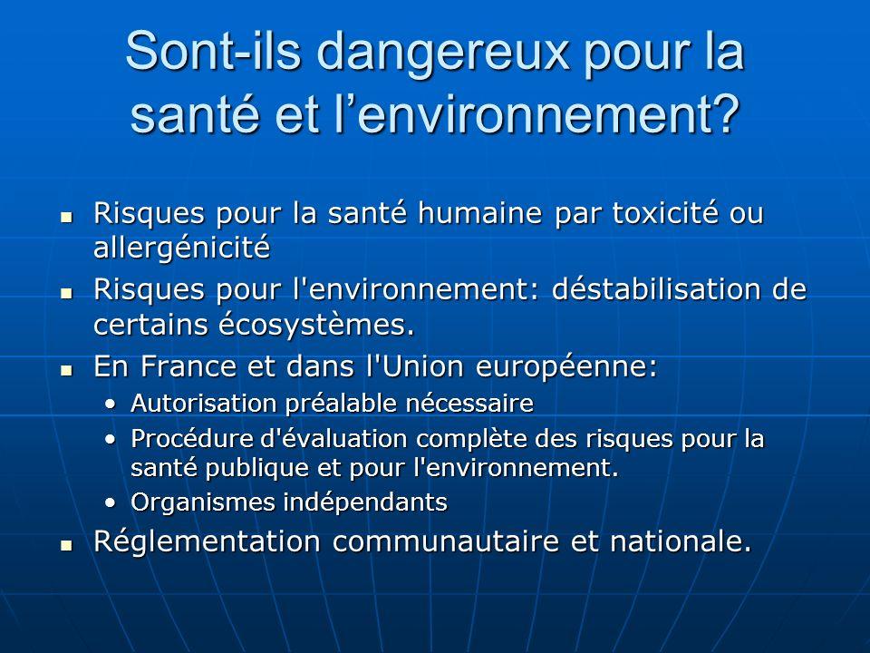 Sont-ils dangereux pour la santé et lenvironnement? Risques pour la santé humaine par toxicité ou allergénicité Risques pour la santé humaine par toxi