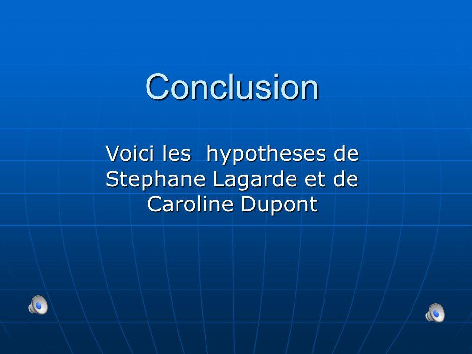 Conclusion Voici les hypotheses de Stephane Lagarde et de Caroline Dupont
