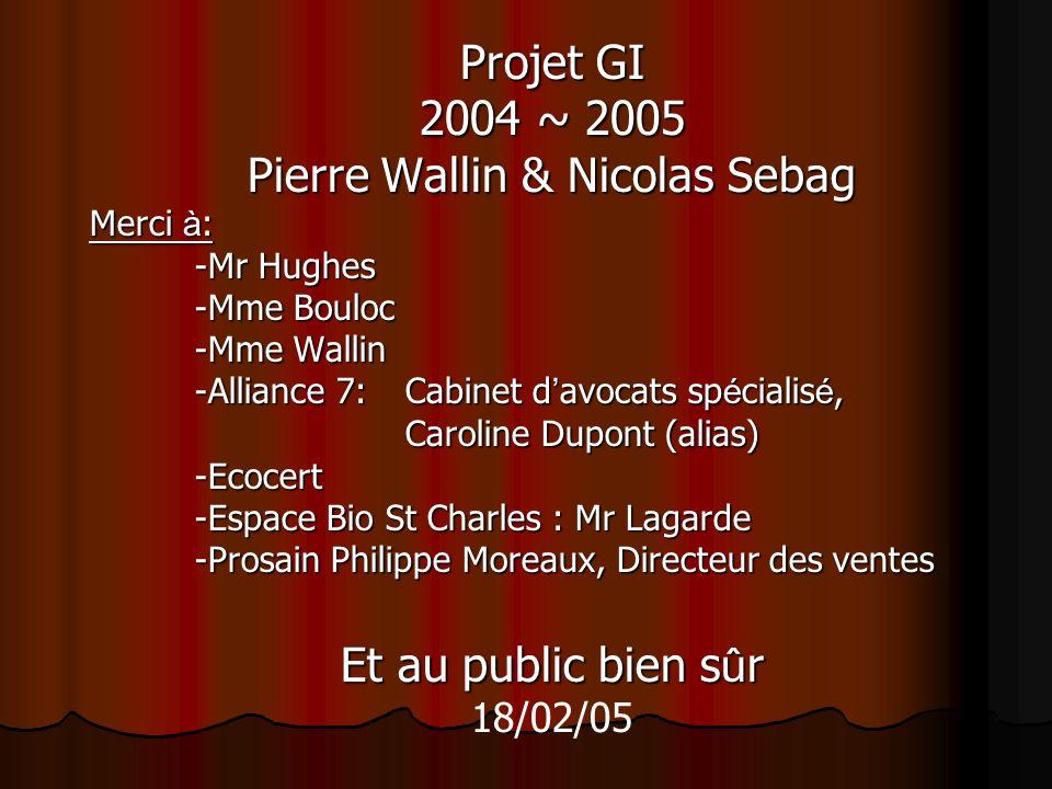 Projet GI 2004 ~ 2005 Pierre Wallin & Nicolas Sebag Merci à: -Mr Hughes -Mme Bouloc -Mme Wallin -Alliance 7:Cabinet davocats spécialisé, Caroline Dupo