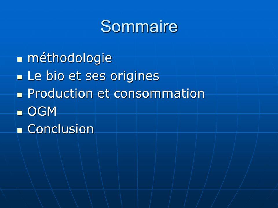 Sommaire méthodologie méthodologie Le bio et ses origines Le bio et ses origines Production et consommation Production et consommation OGM OGM Conclus