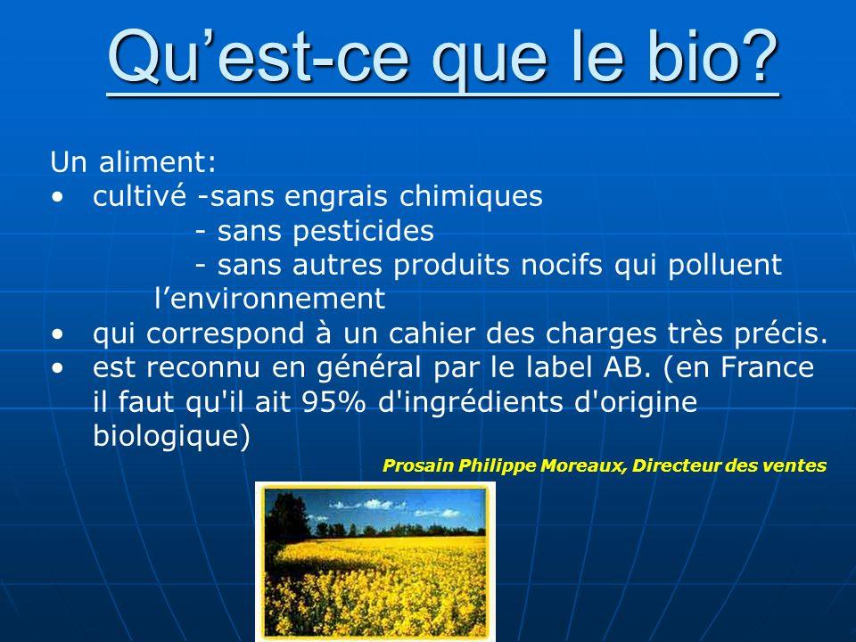 Quest-ce que le bio? Un aliment: cultivé -sans engrais chimiques - sans pesticides - sans autres produits nocifs qui polluent lenvironnement qui corre