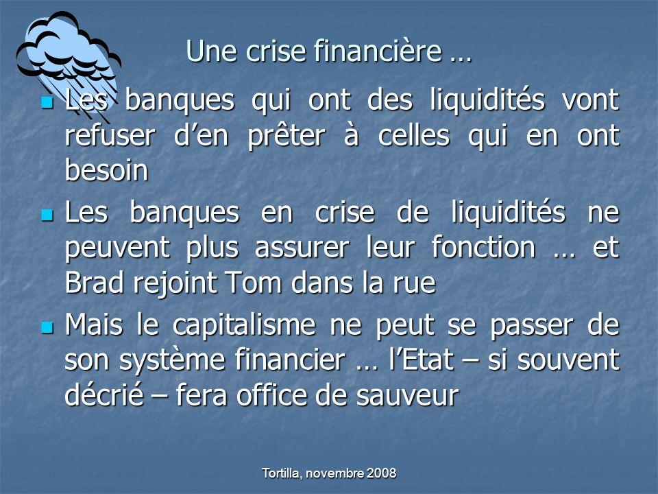 Une crise financière … Les banques qui ont des liquidités vont refuser den prêter à celles qui en ont besoin Les banques qui ont des liquidités vont r