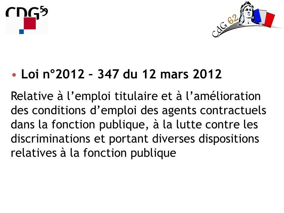 Loi n°2012 – 347 du 12 mars 2012 Relative à lemploi titulaire et à lamélioration des conditions demploi des agents contractuels dans la fonction publi