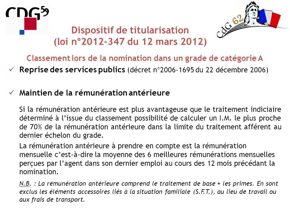 Classement lors de la nomination dans un grade de catégorie A Dispositif de titularisation (loi n°2012-347 du 12 mars 2012) Reprise des services publi