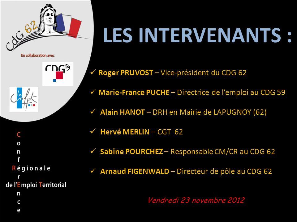 LES INTERVENANTS : Roger PRUVOST – Vice-président du CDG 62 Marie-France PUCHE – Directrice de lemploi au CDG 59 Alain HANOT – DRH en Mairie de LAPUGN