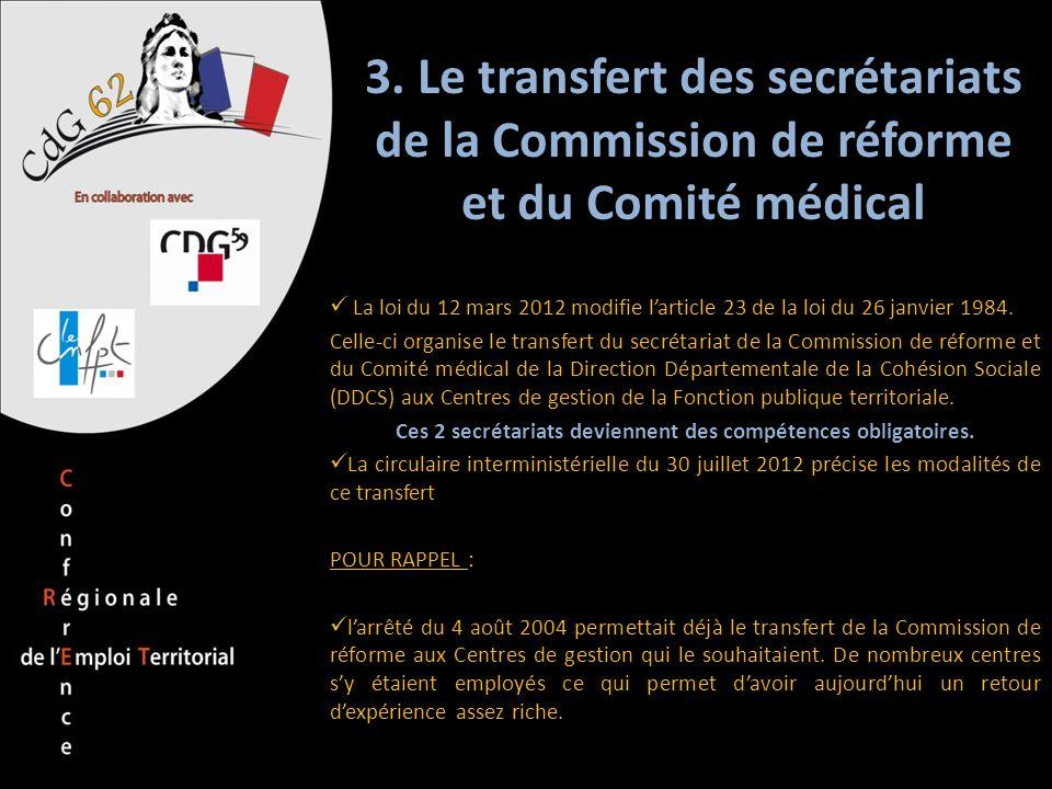 3. Le transfert des secrétariats de la Commission de réforme et du Comité médical La loi du 12 mars 2012 modifie larticle 23 de la loi du 26 janvier 1