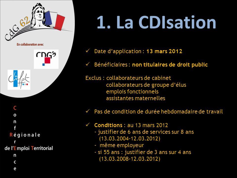 1. La CDIsation Date dapplication : 13 mars 2012 Bénéficiaires : non titulaires de droit public Exclus : collaborateurs de cabinet collaborateurs de g