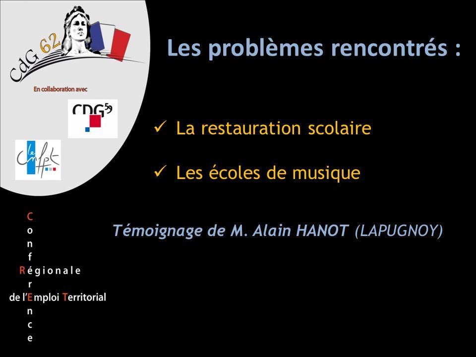 Les problèmes rencontrés : La restauration scolaire Les écoles de musique Témoignage de M. Alain HANOT (LAPUGNOY)