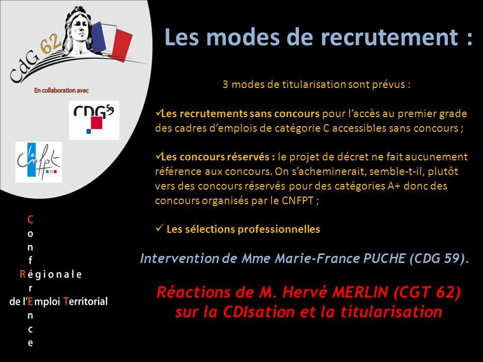 Les modes de recrutement : 3 modes de titularisation sont prévus : Les recrutements sans concours pour laccès au premier grade des cadres demplois de