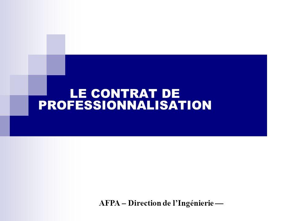LE CONTRAT DE PROFESSIONNALISATION AFPA – Direction de lIngénierie ––
