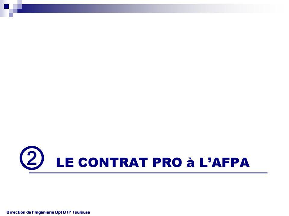 Direction de lIngénierie Dpt BTP Toulouse LE CONTRAT PRO à LAFPA