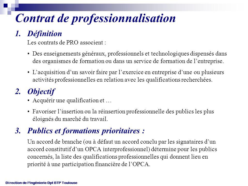 Direction de lIngénierie Dpt BTP Toulouse Contrat de professionnalisation 1.Définition Les contrats de PRO associent : Des enseignements généraux, professionnels et technologiques dispensés dans des organismes de formation ou dans un service de formation de lentreprise.