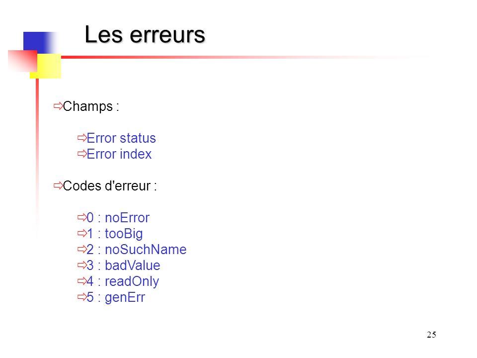 25 Les erreurs Champs : Error status Error index Codes d erreur : 0 : noError 1 : tooBig 2 : noSuchName 3 : badValue 4 : readOnly 5 : genErr