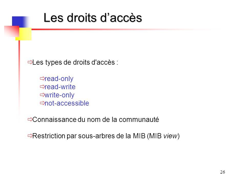 26 Les droits daccès Les types de droits d accès : read-only read-write write-only not-accessible Connaissance du nom de la communauté Restriction par sous-arbres de la MIB (MIB view)