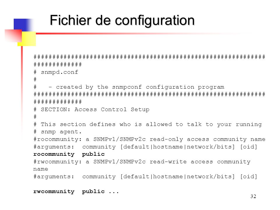 32 Fichier de configuration ############################################################## ############# # snmpd.conf # # - created by the snmpconf co
