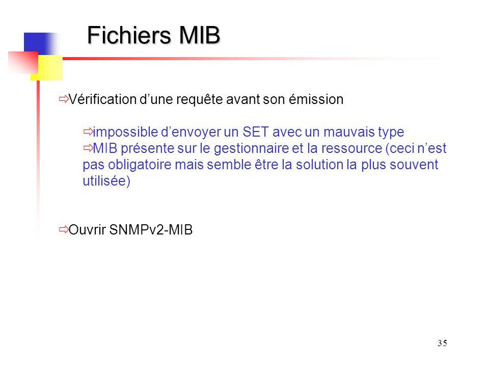 35 Fichiers MIB Vérification dune requête avant son émission impossible denvoyer un SET avec un mauvais type MIB présente sur le gestionnaire et la ressource (ceci nest pas obligatoire mais semble être la solution la plus souvent utilisée) Ouvrir SNMPv2-MIB