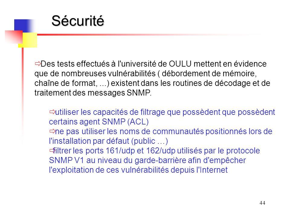 44 Sécurité Des tests effectués à l université de OULU mettent en évidence que de nombreuses vulnérabilités ( débordement de mémoire, chaîne de format,...) existent dans les routines de décodage et de traitement des messages SNMP.