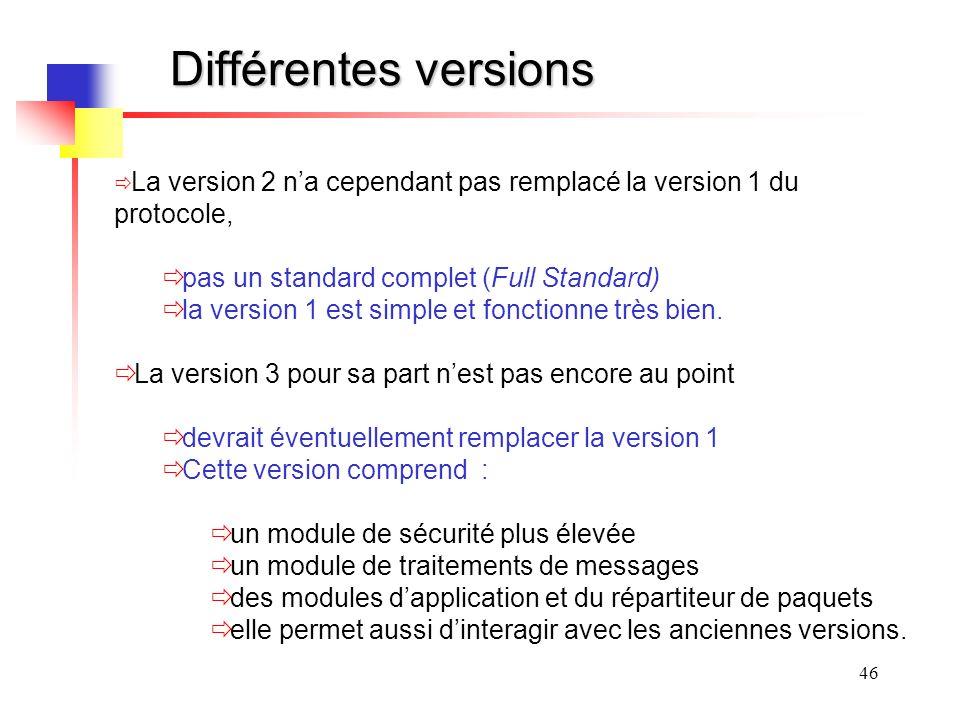 46 Différentes versions La version 2 na cependant pas remplacé la version 1 du protocole, pas un standard complet (Full Standard) la version 1 est simple et fonctionne très bien.