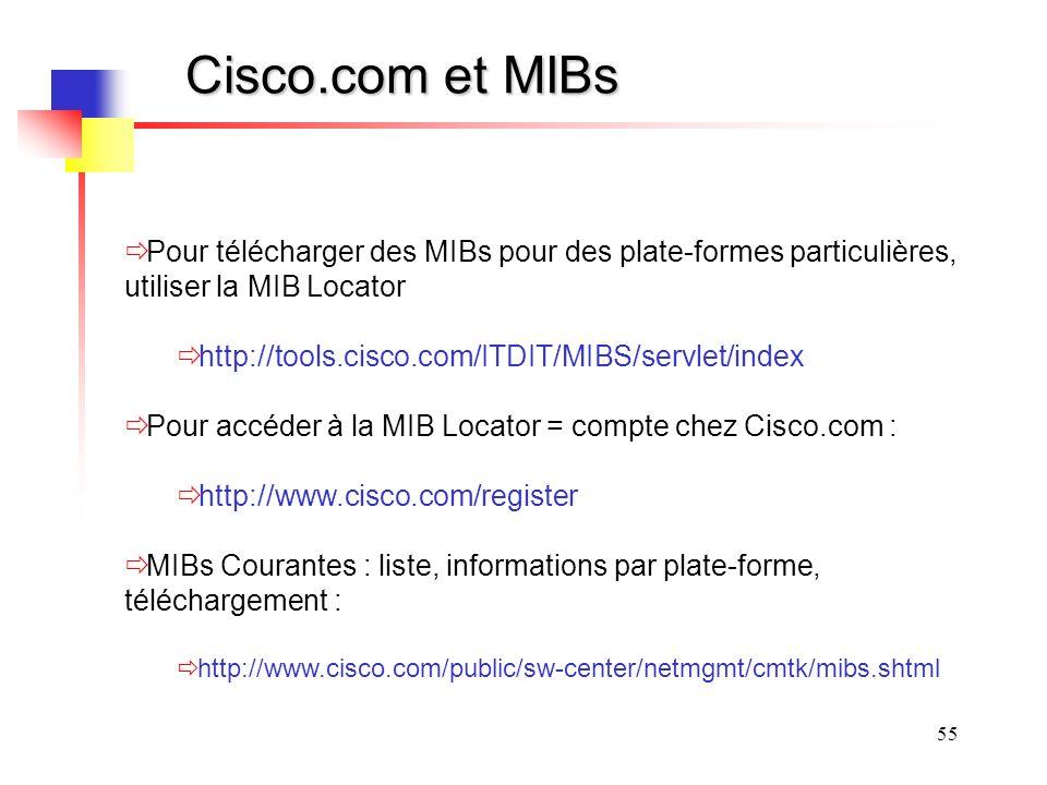 55 Cisco.com et MIBs Pour télécharger des MIBs pour des plate-formes particulières, utiliser la MIB Locator http://tools.cisco.com/ITDIT/MIBS/servlet/index Pour accéder à la MIB Locator = compte chez Cisco.com : http://www.cisco.com/register MIBs Courantes : liste, informations par plate-forme, téléchargement : http://www.cisco.com/public/sw-center/netmgmt/cmtk/mibs.shtml