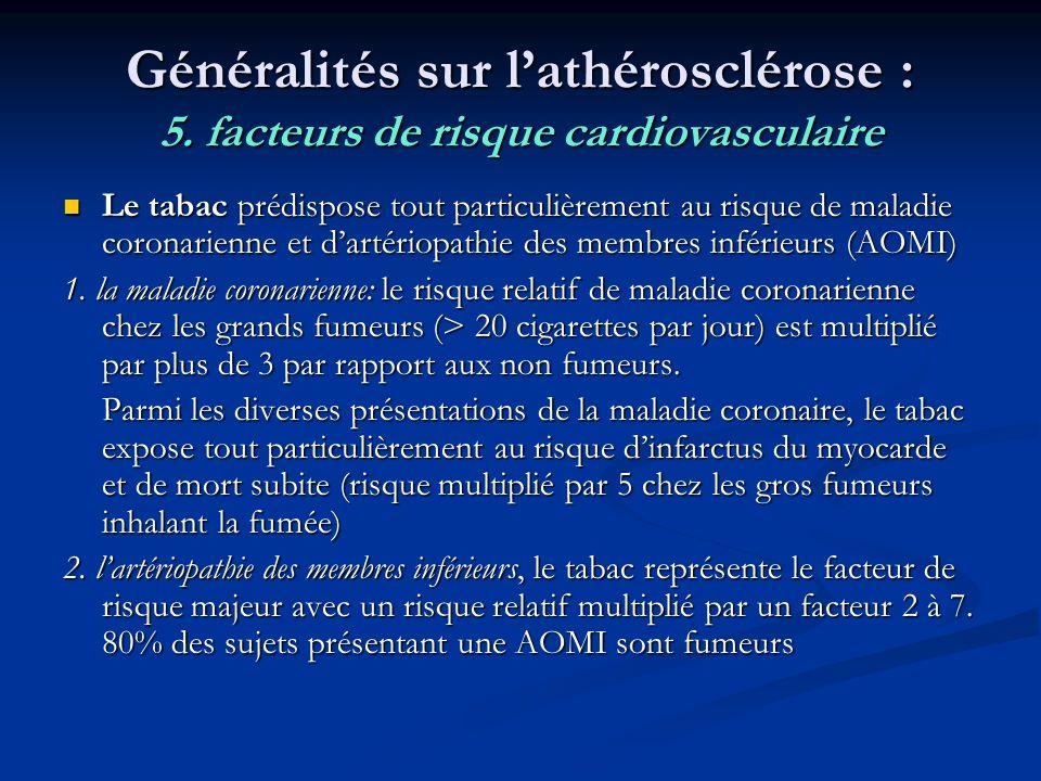 Généralités sur lathérosclérose : 5. facteurs de risque cardiovasculaire Le tabac prédispose tout particulièrement au risque de maladie coronarienne e