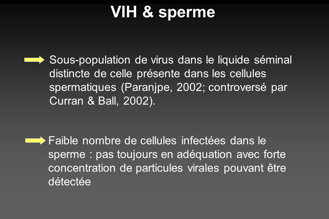 VIH & sperme Faible nombre de cellules infectées dans le sperme : pas toujours en adéquation avec forte concentration de particules virales pouvant êt