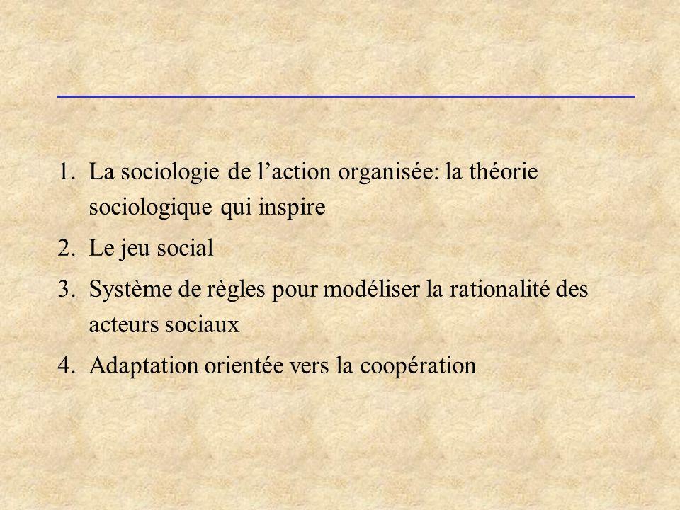 1.La sociologie de laction organisée: la théorie sociologique qui inspire 2.Le jeu social 3.Système de règles pour modéliser la rationalité des acteur