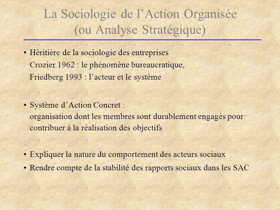 La Sociologie de lAction Organisée (ou Analyse Stratégique) Héritière de la sociologie des entreprises Crozier 1962 : le phénomène bureaucratique, Fri