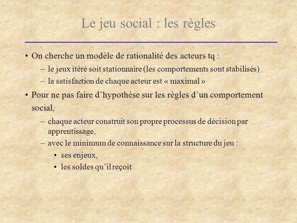 Le jeu social : les règles On cherche un modèle de rationalité des acteurs tq : –le jeux itéré soit stationnaire (les comportements sont stabilisés) –
