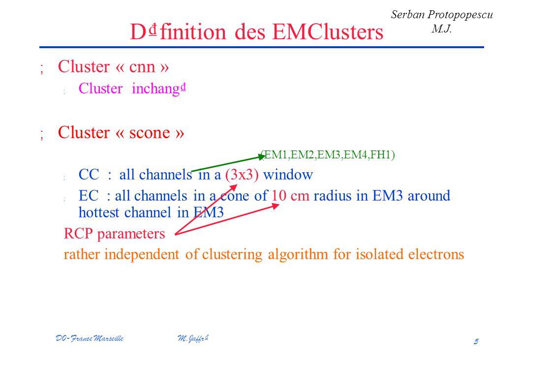 D0-France Marseille M.Jaffr 5 Dfinition des EMClusters ; Cluster « cnn » ; Cluster inchang ; Cluster « scone » (EM1,EM2,EM3,EM4,FH1) ; CC : all channels in a (3x3) window ; EC : all channels in a cone of 10 cm radius in EM3 around hottest channel in EM3 RCP parameters rather independent of clustering algorithm for isolated electrons Serban Protopopescu M.J.
