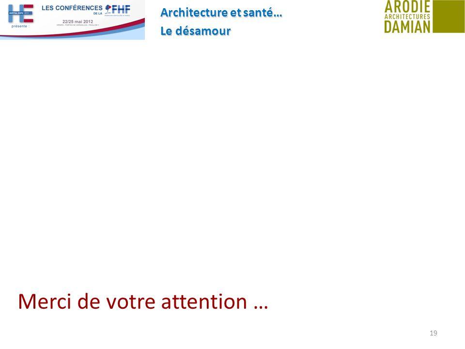 Architecture et santé… Le désamour 19 Merci de votre attention …