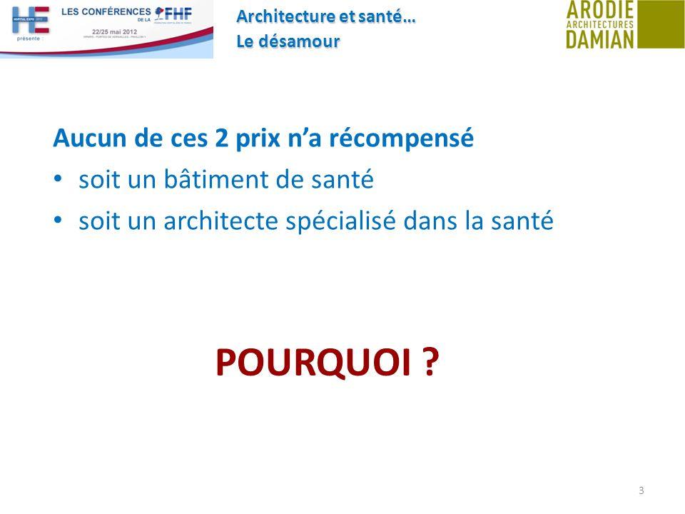 Architecture et santé… Le désamour 3 Aucun de ces 2 prix na récompensé soit un bâtiment de santé soit un architecte spécialisé dans la santé POURQUOI