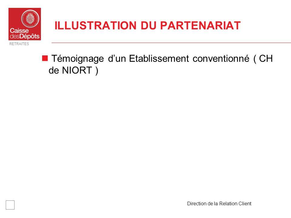 RETRAITES Direction de la Relation Client 18 ILLUSTRATION DU PARTENARIAT Témoignage dun Etablissement conventionné ( CH de NIORT )