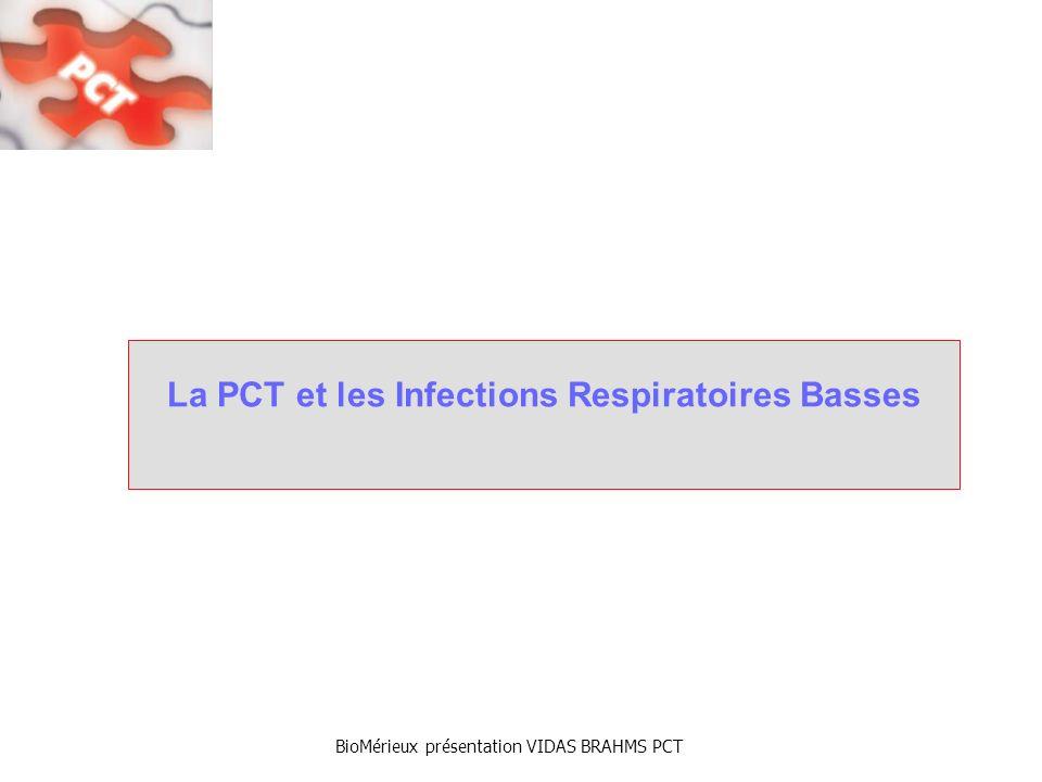 BioMérieux présentation VIDAS BRAHMS PCT La PCT permet de rationaliser lusage dAB aux urgences Etude dimpact Pro-RESP : infections broncho-pulmonaires (n=124) (n=119) (n=243) La PCT aide à distinguer les patients souffrant dIRB nécessitant une ATB (infection bactérienne évolutive) de ceux pouvant sen affranchir (infection dorigine virale ou bactérienne modérée) M.Christ-Crain (…) B.Müller, The Lancet, 2004 CAP: Pneumonie Aiguë Communautaire AECB: Broncho Pneumopathie dExacerbation Aiguë 83% des patients ont reçu des ATB 44% des patients ont reçu des ATB Pas de différence en durée dhospitalisation ni de mortalité