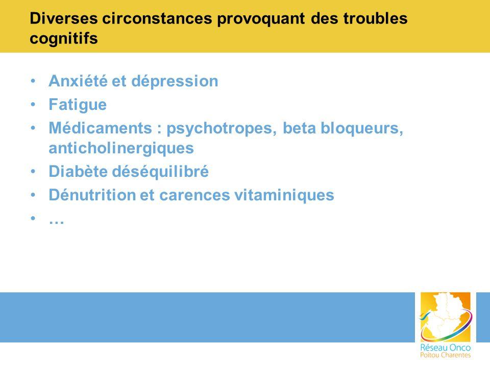 Diverses circonstances provoquant des troubles cognitifs Anxiété et dépression Fatigue Médicaments : psychotropes, beta bloqueurs, anticholinergiques Diabète déséquilibré Dénutrition et carences vitaminiques …