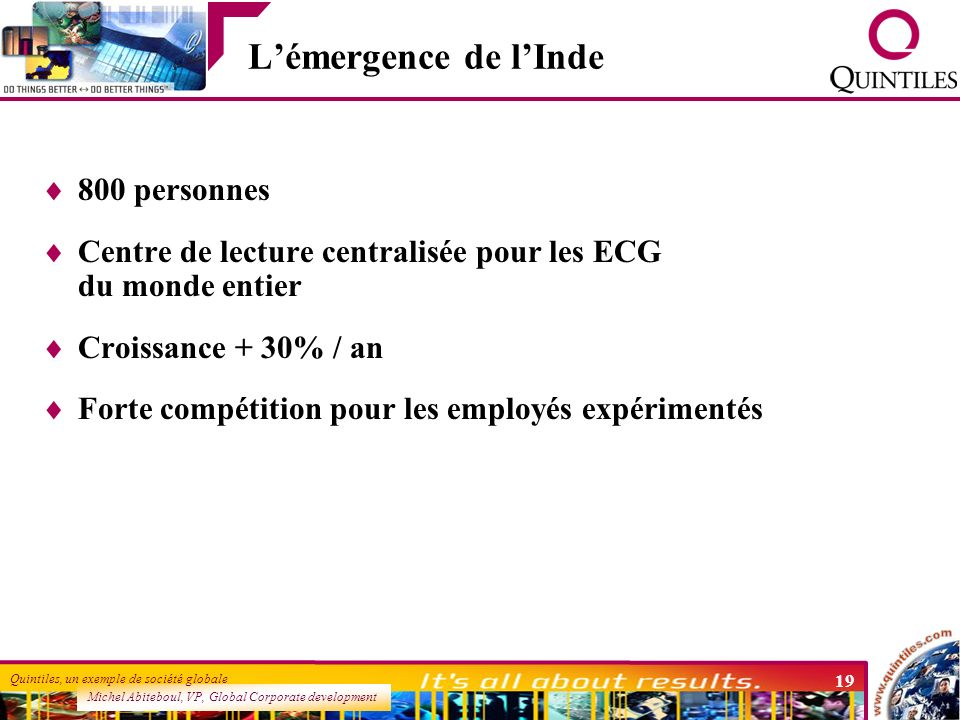 Michel Abiteboul, VP, Global Corporate development Quintiles, un exemple de société globale 19 Lémergence de lInde 800 personnes Centre de lecture cen