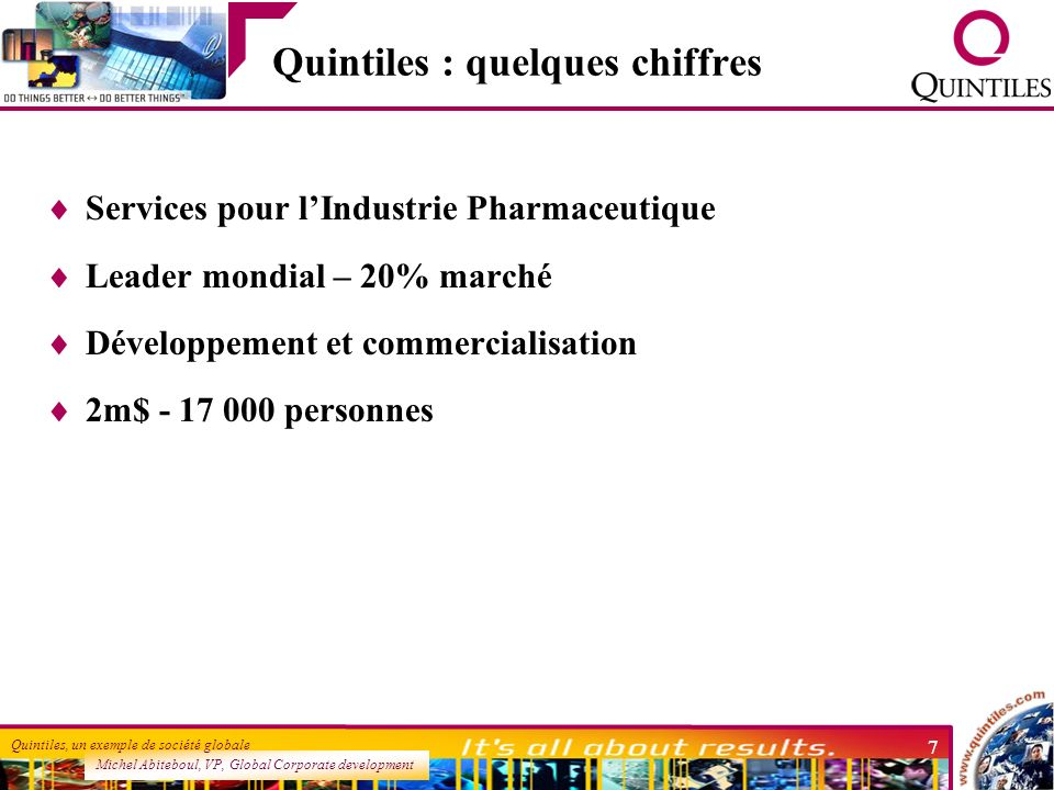 Michel Abiteboul, VP, Global Corporate development Quintiles, un exemple de société globale 7 Quintiles : quelques chiffres Services pour lIndustrie P