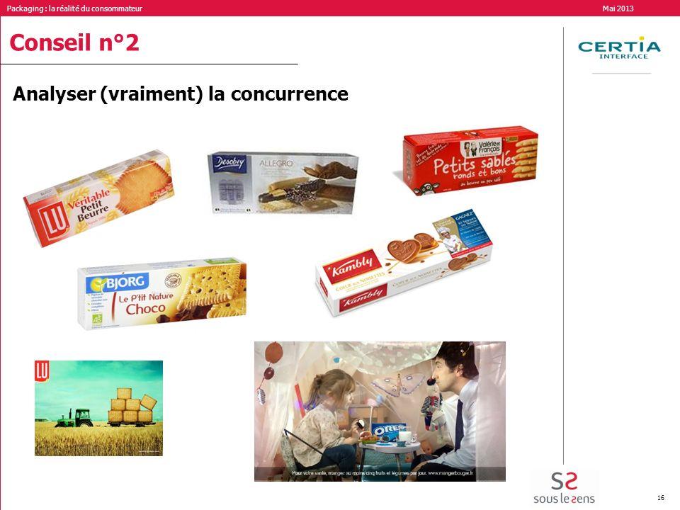 Packaging : la réalité du consommateur Mai 2013 16 Conseil n°2 Analyser (vraiment) la concurrence