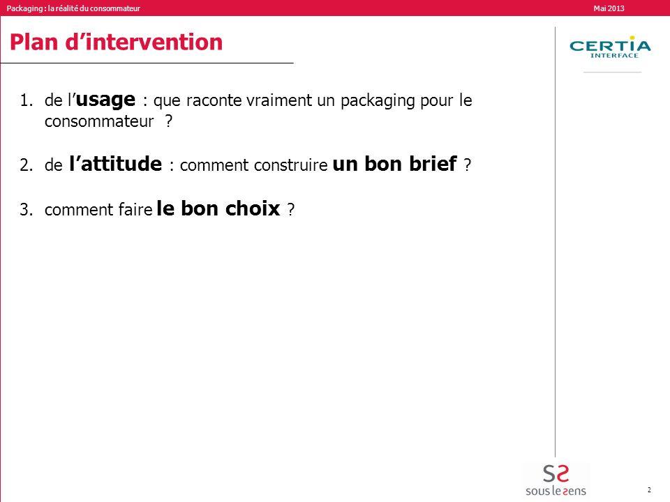 Packaging : la réalité du consommateur Mai 2013 2 Plan dintervention 1.de l usage : que raconte vraiment un packaging pour le consommateur ? 2.de latt