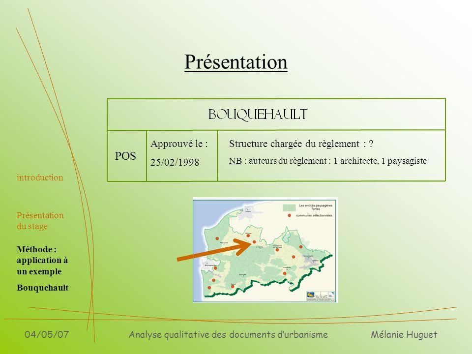 Mélanie Huguet 04/05/07Analyse qualitative des documents durbanisme Présentation introduction Présentation du stage POS Approuvé le : 25/02/1998 Struc