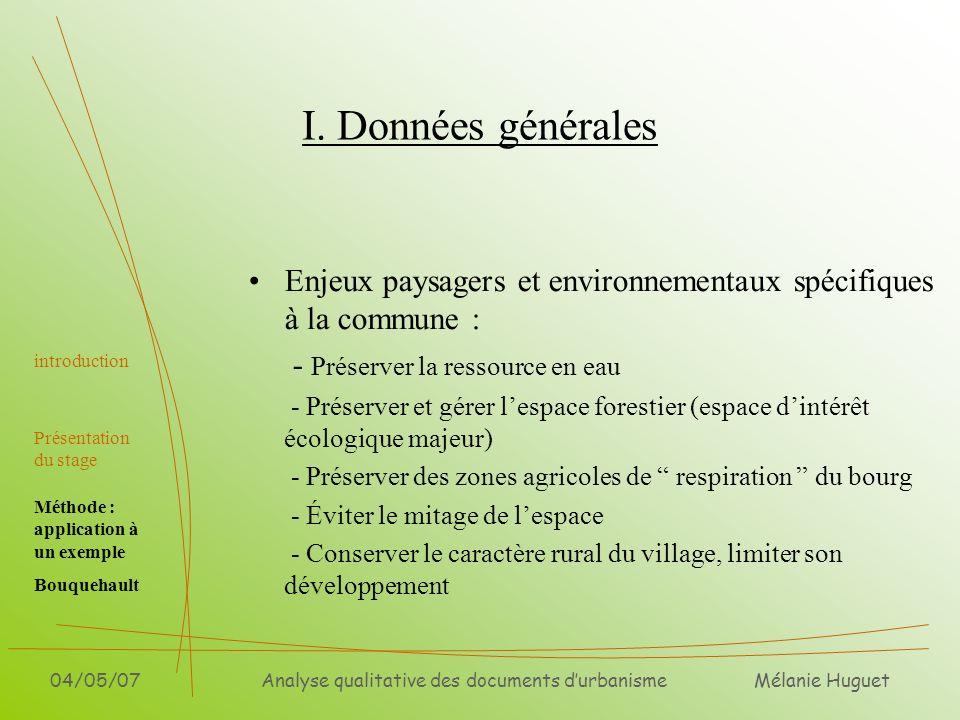 Mélanie Huguet 04/05/07Analyse qualitative des documents durbanisme I. Données générales Enjeux paysagers et environnementaux spécifiques à la commune