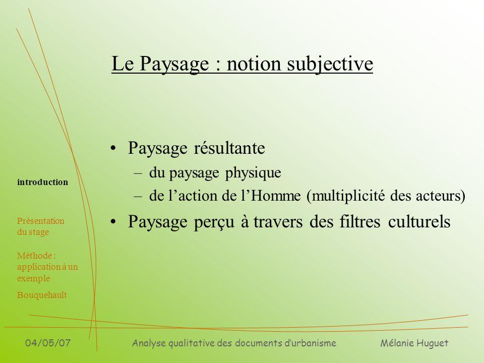 Mélanie Huguet 04/05/07Analyse qualitative des documents durbanisme Le Paysage : notion subjective Paysage résultante –du paysage physique –de laction