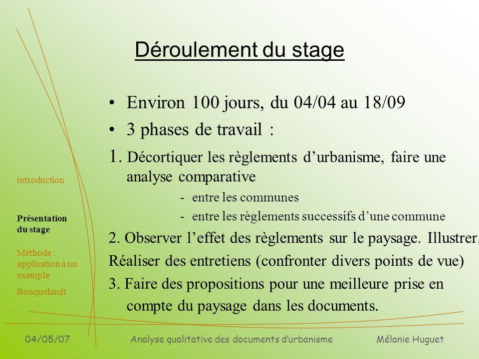 Mélanie Huguet 04/05/07Analyse qualitative des documents durbanisme Déroulement du stage Environ 100 jours, du 04/04 au 18/09 3 phases de travail : 1.