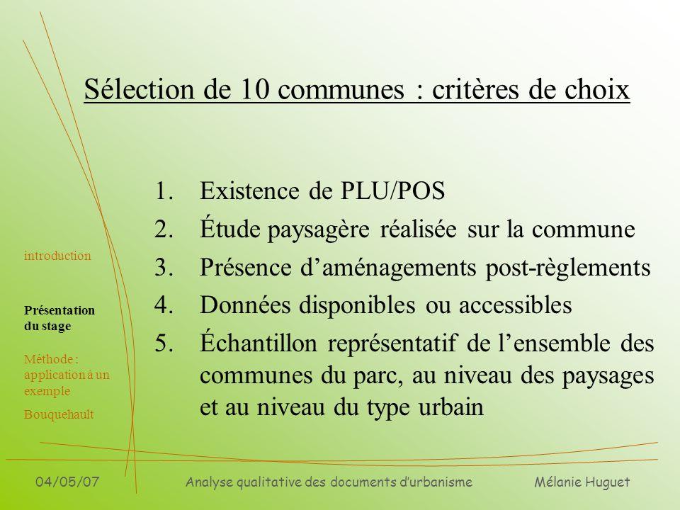 Mélanie Huguet 04/05/07Analyse qualitative des documents durbanisme Sélection de 10 communes : critères de choix 1.Existence de PLU/POS 2.Étude paysag