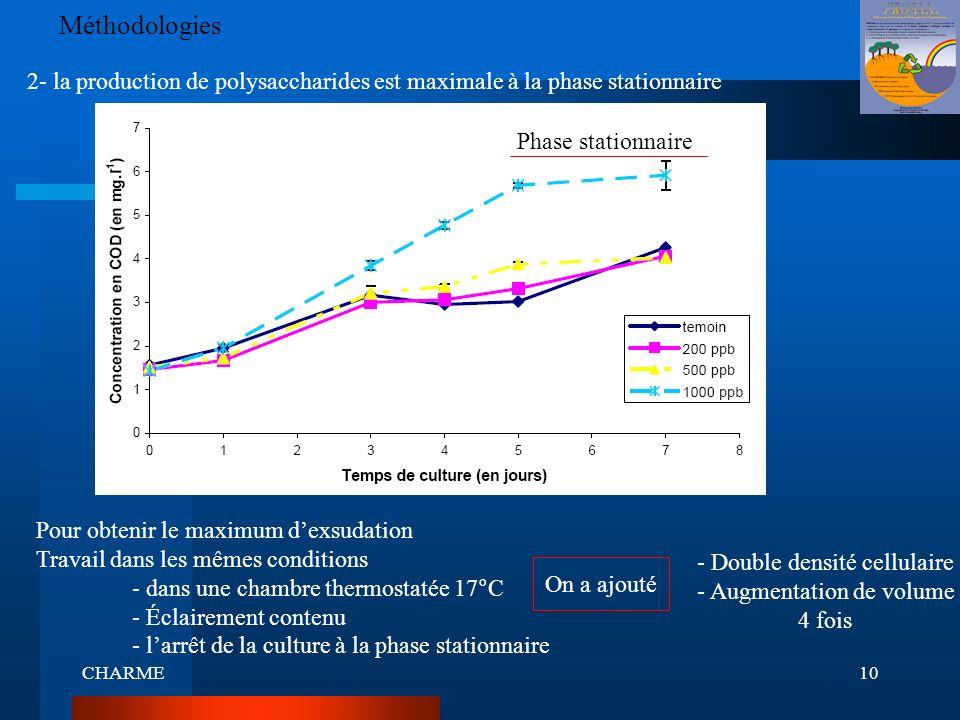 CHARME10 Méthodologies 2- la production de polysaccharides est maximale à la phase stationnaire Pour obtenir le maximum dexsudation Travail dans les m