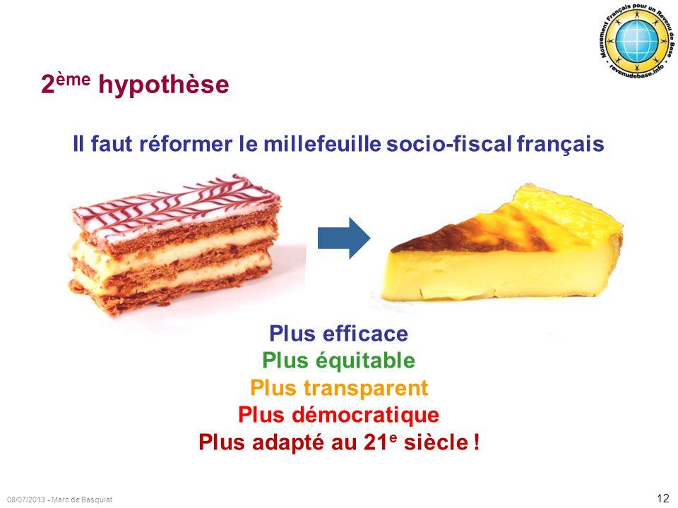 12 08/07/2013 - Marc de Basquiat 2 ème hypothèse Il faut réformer le millefeuille socio-fiscal français Plus efficace Plus équitable Plus transparent