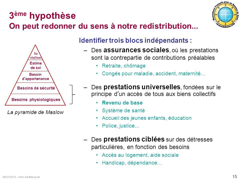 15 08/07/2013 - Marc de Basquiat 3 ème hypothèse On peut redonner du sens à notre redistribution... Identifier trois blocs indépendants : –Des assuran