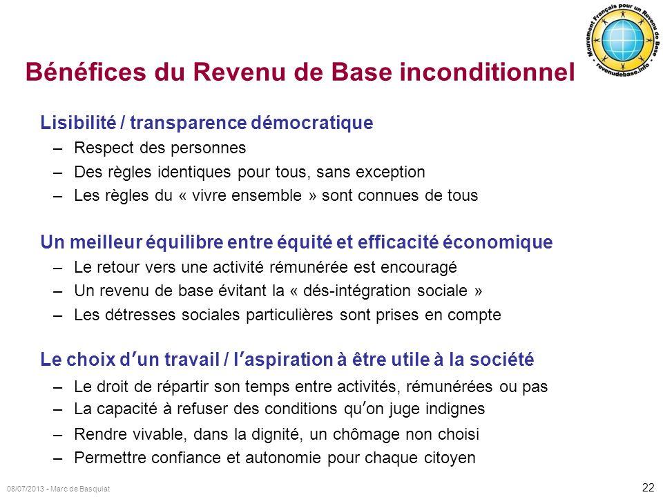 22 08/07/2013 - Marc de Basquiat Bénéfices du Revenu de Base inconditionnel Lisibilité / transparence démocratique –Respect des personnes –Des règles