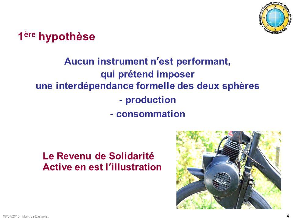 4 08/07/2013 - Marc de Basquiat 1 ère hypothèse Aucun instrument nest performant, qui prétend imposer une interdépendance formelle des deux sphères -