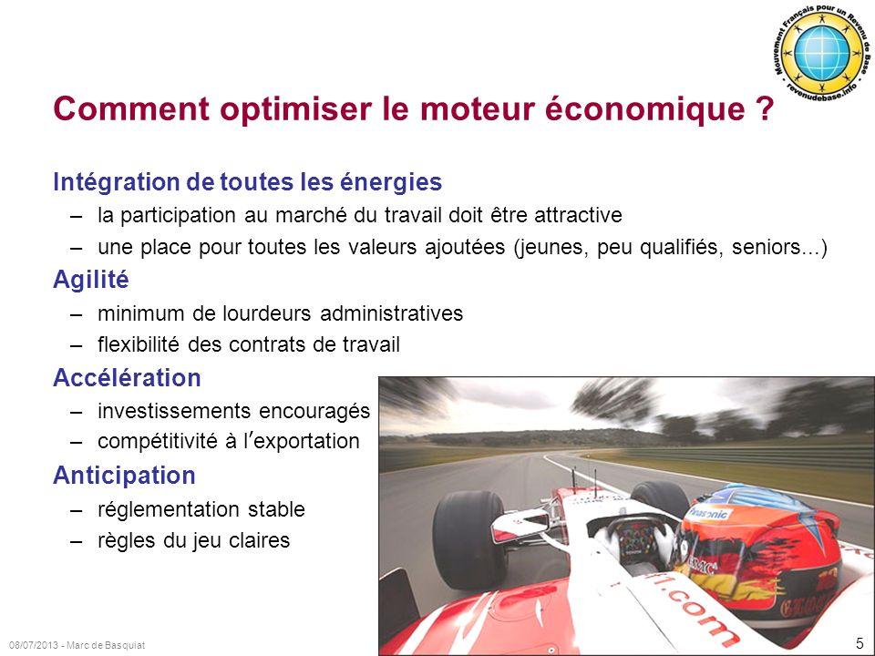 5 08/07/2013 - Marc de Basquiat Comment optimiser le moteur économique ? Intégration de toutes les énergies –la participation au marché du travail doi